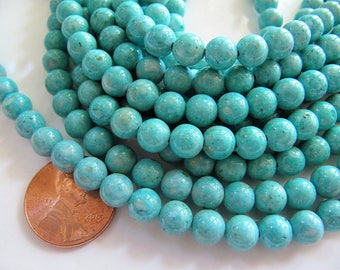 6mm Fossil Beads in Light Blue Green, 1 Strand, Approx. 66 Pieces, Dyed Round Gemstones, Limestone Beads