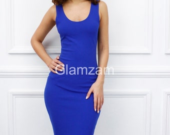 Glamzam New Womens Ladies Sleeveless Scoop Neck Bodycon Cobolt Royal Blue Pencil Midi Dress