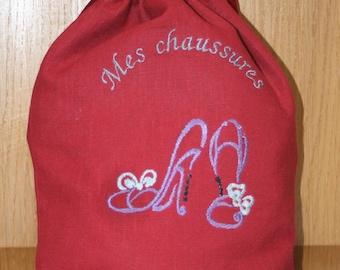 Red linen shoe bag