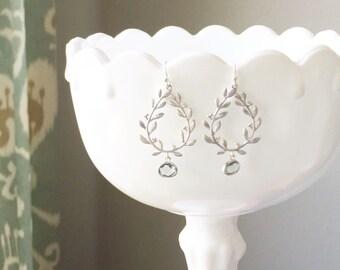 LAUREL   Charcoal + Silver Laurel Wreath Teardrop Earrings   Charcoal Faceted Glass Drops Silver Laurel Leaf Earrings Gray Earrings