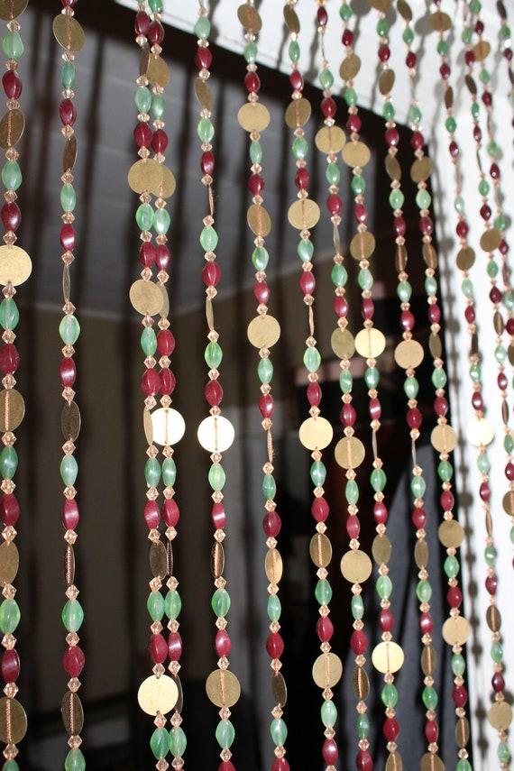 Vintage Beaded Doorway Curtain 1960s Hippy Boho