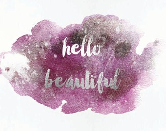 2 8x10 printable Set of 2 Hello Beautiful, Hello Handsome. Watercolor and Faux Silver Foil Lilac Wall Art, Digital Instant Download, FoilArt
