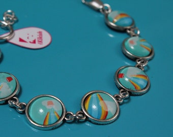 Bracelet with cabochon-hot air balloons