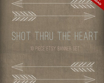 DIY Etsy Banner and Avatar Design Set - 10 Piece Shot Thru The Heart Arrow Premade Shop Set - Native American Etsy Shop Banner
