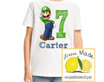 Super Mario Luigi birthday boy t shirt with name
