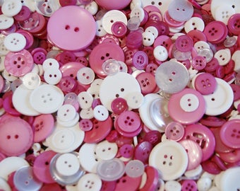 100 Pink Button Mix, PINK BLUSH  assorted sizes, Grab Bag, Crafting,  Jewelry,  Collect (1605)