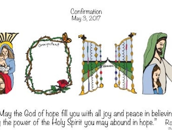 Confirmation Gifts - Personalized MATTED Print; Catholic Confirmation gift for Girls and Boys; Confirmation gift boy Confirmation gift girl