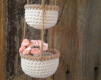 3 Tier Little Crochet Baskets with Brown rims, Mini Hanging Baskets, Shabby Chic Country Decor, Natural Kitchen Decor, Gift for Women
