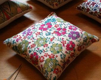 Pin cushion handmade with Liberty fabrics, Clarisse