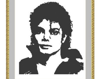 Counted cross stitch pattern Michael Jackson ,Instant download PDF