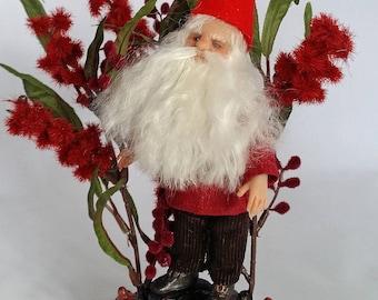 """OOAK artist doll figure, """"Tomten"""", Scandinavian Gnome, by Lori Platt, The Pixie Knoll"""