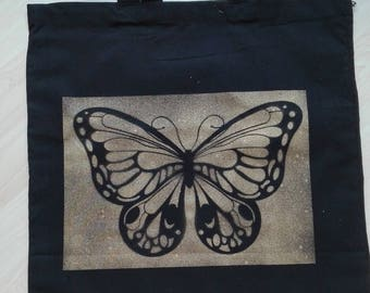 Jute Bag Butterfly silhouette, black/gold, hand painted