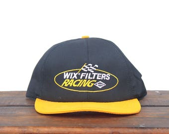 Vintage 90's Hat Cap Wix Filters Racing Auto Parts Nascar Snapback Hat Baseball Cap Made In USA