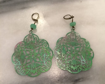 Mint Patina India Style Filigree and Crysoprase Dangle Earrings  Shabby Chic Patina Earrings Boho Jewelry Lightweight Statement Earrings