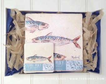 Mackerel Placemat & Coaster Gift Set, Mackerel, Fishing, Time, Nautical, Sea, Ocean, Coaster, Personalised, Home, Kitchen, Placemat