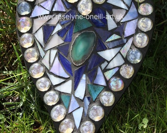 Agate Heart Mosaic Heart Stained Glass