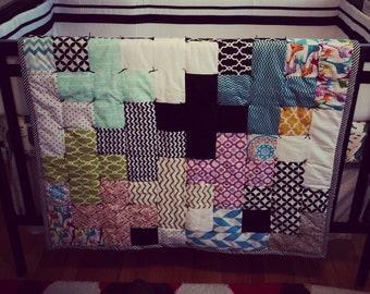 Modern Cross Multi-Colored Crib Quilt