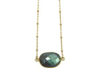 Labradorite Necklace Gold Filled Satellite Chain, Genuine Labradorite Pendant Necklace, Layering Necklace, Stone Necklace,