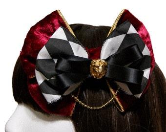 Maroon Velvet Black and White Diamond Velveteen Circus Bow