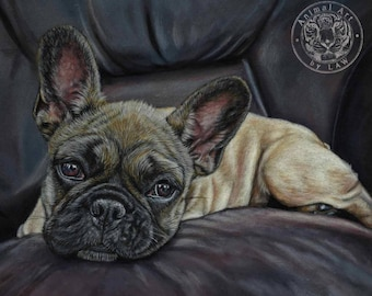 French Bulldog Frenchie art - Hand signed small fine art print - 'It's All About Stella'