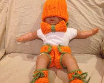 Boy's Pumpkin Crochet Costume