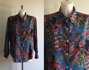 Blouses, 1980s Blouse, Halston, Halston Blouse, Blue with Floral Print Blouse, Long Sleeved Vintage Blouse, Vintage Blouse