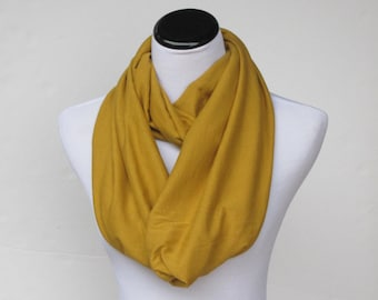 Mustard scarf, golden mustard infinity scarf, yellow mustard loop scarf, circle scarf, soft jersey knit Autumn colors scarf - gift for women