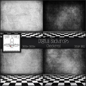 4 Digital Backdrops, Checkered Grunge. Photography Backdrop, Scrapbook papers 3600px-3600px JPEG  ***Instant Download***