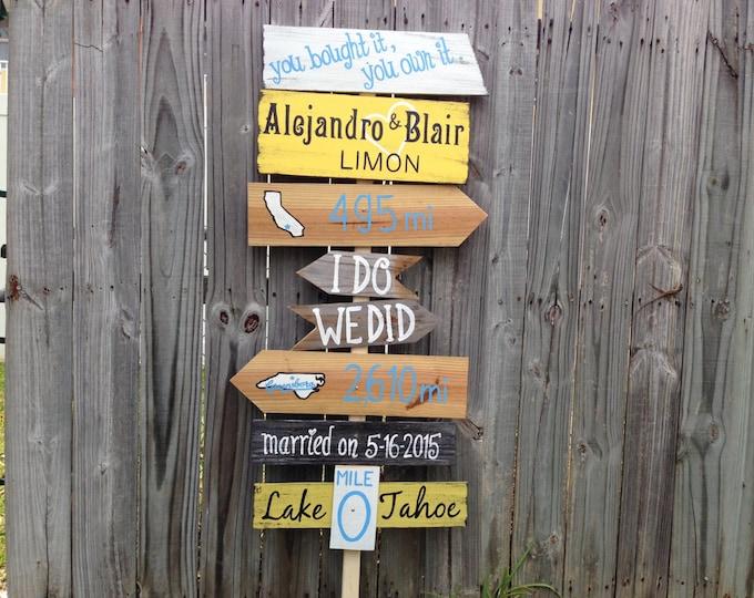 Directional Rustic Wedding Sign, Wood Wedding Ceremony Decor, I Do We Did unique wedding gift.