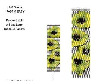 Bead Loom and Peyote Stitch Bracelet Pattern - 8/0 Seed Bead Pattern - 8bead15 - Fast and Easy Large Seed Bead Pattern