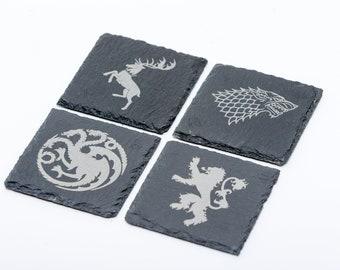 Game of Thrones Welsh Slate Drinks Coasters Stark, Lannister, Baratheon and Targaryen set of 4