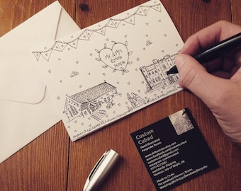 Wedding Card, Illustrated by Hand, Bespoke Church and Venue, Personalised Card, A6.