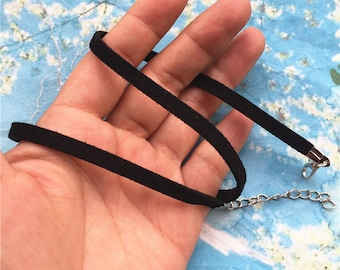 15pcs 15-17 inch adjustable 4mm black flat suede leather necklace cords with clasps and extenders