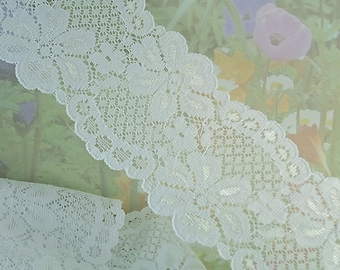 """Elastic Lace Ribbon 2 1/2"""" wide Floral Design Flower Trim White Elastic Stretch wedding Lace Headbands Elastic Lace by the yard cute"""