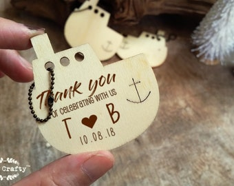 Nautical Wooden tag Personalized Engraved Thank you Wedding Gift Tags Anchor Boat Ship Favor Nautical Beach Destination Seaside wedding