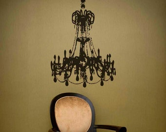 Grunge Chandelier Vinyl Decal size MEDIUM - Chandelier wall décor, Home décor, Office Decal, Romantic Bedroom décor