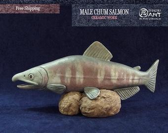 Interior Ceramic Figurine, Ceramic Male Chum Salmon, Hand-built Ceramic Art, Fish Art, Free Shipping