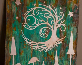 Magical tree of life copper wall art with patina