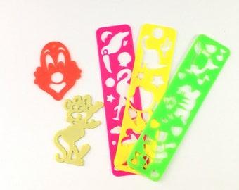 Vintage Lisa Frank stencils, Chuck E Cheese stencil, 90s stencils, vintage Lisa Frank, Lisa Frank clown, clown stencil, mouse stencil, neon