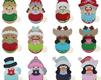 Christmas Ornament Peekers Applique Set for Machine Embroidery, Twelve designs included (fonts NOT included) INSTANT DOWNLOAD