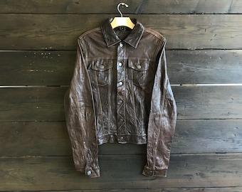 Vintage 90s Rageblue Suede Leather Trucker Jacket