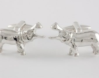 Hippo Cufflinks, Sterling Silver, personalized
