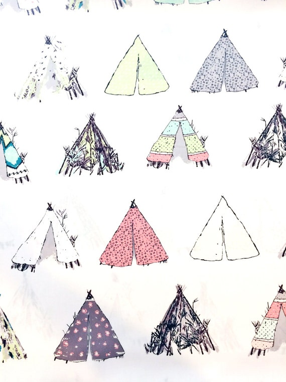 Tribal Fabric | Tents | Native American | Tipi | Teepee | Tepees | Cute  Print | White | Triangles | Bohemian | Boho Decor | Modern | Unique From ...