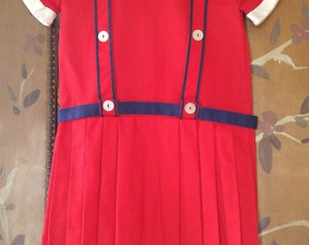 60's little girls red pleated dress with white collar and cuffs by Cinderella