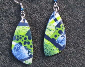 Blue, green and white polymer clay earrings