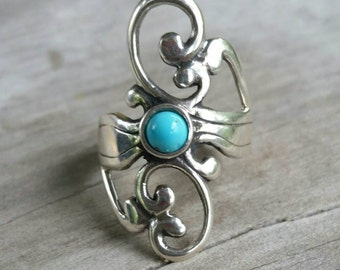 turquoise ring,scroll,long ring,art nouveau,boho,sterling Silver, alternative,tribal,gypsy, gothic,hand made,goddess,funky,swirl,designer