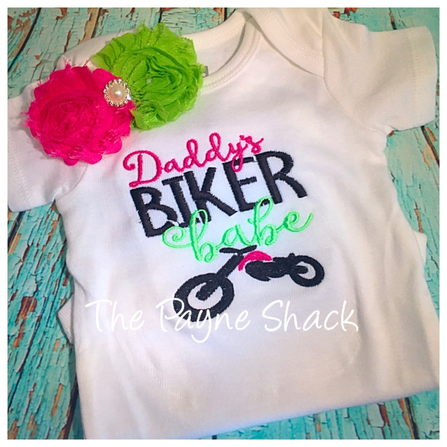 Daddy s Biker Babe Bodysuit Newborn Baby Girl Clothes Embroidery