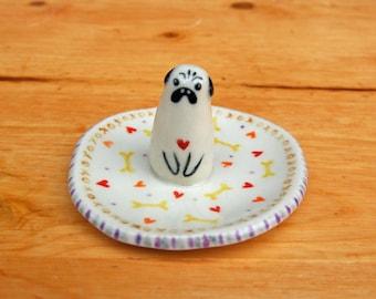 Pug dog ring dish ceramic ring holder jewelry holder animal lover plate porcelain small gift valentine anniversary engagement tuxedo cat