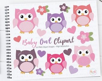 Cute Owls Clipart, Pink Owls Clipart, Digital Owls Clipart, Baby Shower Clipart, Girl Shower Clipart, Owl Digital Images, Boy Owls Clipart