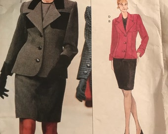 1990s vintage vogue pattern Givenchy Jacket Top and Skirt Power Suit size 14 - 16 - 18